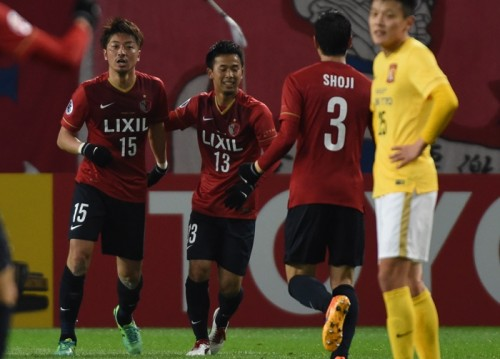 KASHIMA, JAPAN - APRIL 07:  Hiroyuki Takasaki #15 of Kashima Antlers looks on after the second goal during the AFC Champions League Group H match between Kashima Antlers and Guangzhou Evergrande at Kashima Stadium on April 7, 2015 in Kashima, Japan.  (Photo by Masashi Hara/Getty Images)