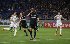 OSAKA, JAPAN - APRIL 19: Takashi Usami of Gamba Osaka reacts after his first half penalty is saved during the AFC Champions League Group G match between Gamba Osaka and Suwon Samsung Bluewings at Suita City Football Stadium on April 19, 2016 in Osaka, Japan. (Photo by Matthew Ashton - AMA/Getty Images)