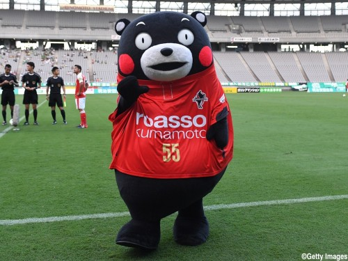 CHOFU, JAPAN - JULY 31:  (CHINA OUT, SOUTH KOREA OUT) Famous character Kumamon poses for photograph prior to the J.League second division match between Tokyo Verdy and Roasso Kumamoto at the Ajinomoto Stadium on July 31, 2016 in Chofu, Tokyo, Japan.  (Photo by Masashi Hara/Getty Images)