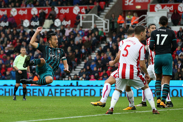 during the Premier League match between Stoke City and Southampton at Bet365 Stadium on September 30, 2017 in Stoke on Trent, England.