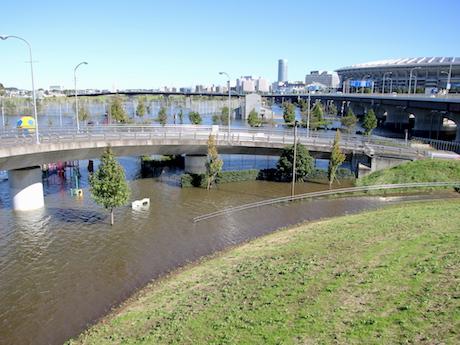 台風21号の記録的大雨で鶴見川が増水→今年も日産スタジアム周辺に水を引き込み被害軽減
