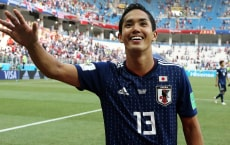 VOLGOGRAD, RUSSIA - JUNE 28: Yoshinori Muto of Japan team celebrates 2nd place break during the 2018 FIFA World Cup Russia group H match between Japan and Poland at Volgograd Arena on June 28, 2018 in Volgograd, Russia. (Photo by Koji Watanabe/Getty Images)