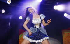 Nanami 'Seven Seas' Nagura from Japan performs during the Air Guitar World Championships final in Oulu, Finland, August 24, 2018. Lehtikuva/Eeva Riihela/via REUTERS - ATTENTION EDITORS - THIS IMAGE WAS PROVIDED BY A THIRD PARTY. NO THIRD PARTY SALES. NOT FOR USE BY REUTERS THIRD PARTY DISTRIBUTORS. FINLAND OUT. NO COMMERCIAL OR EDITORIAL SALES IN FINLAND.