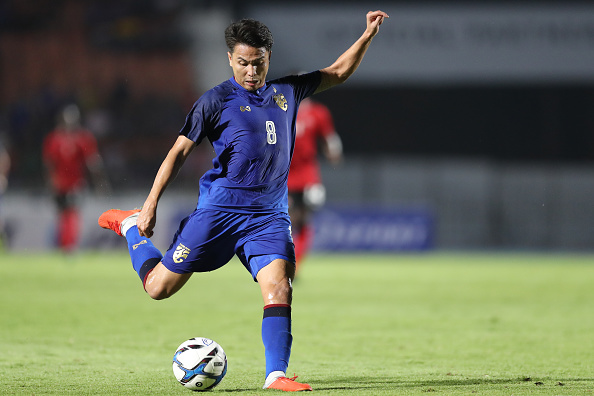 SUPHAN BURI, THAILAND - OCTOBER 14: Thitiphan Puangjan #8 of Thailand in action during the international friendly match between Thailand and Trinidad and Tobago at Suphanburi Stadium on October 14, 2018 in Suphan Buri, Thailand. (Photo by Pakawich Damrongkiattisak/Getty Images)