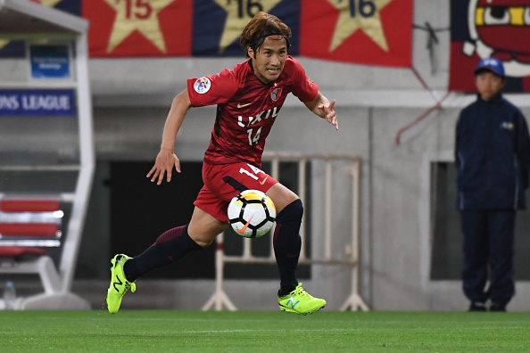 KASHIMA, JAPAN - APRIL 17:  Takeshi Kanamoro of Kashima Antlers in action during the AFC Champions League Group H match between Kashima Antlers and Suwon Samsung Bluewings at Kashima Soccer Stadium on April 17, 2018 in Kashima, Ibaraki, Japan.  (Photo by Masashi Hara/Getty Images)